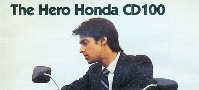 Salman Khan in his 20s in a 1980s ad for Hero Honda CD100